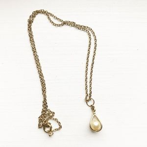 Thin & dainty gold cage pearl pendant necklace